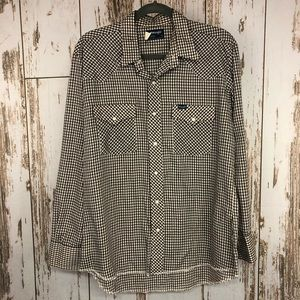 Vintage Polyester Plaid Shirt, Size Large.